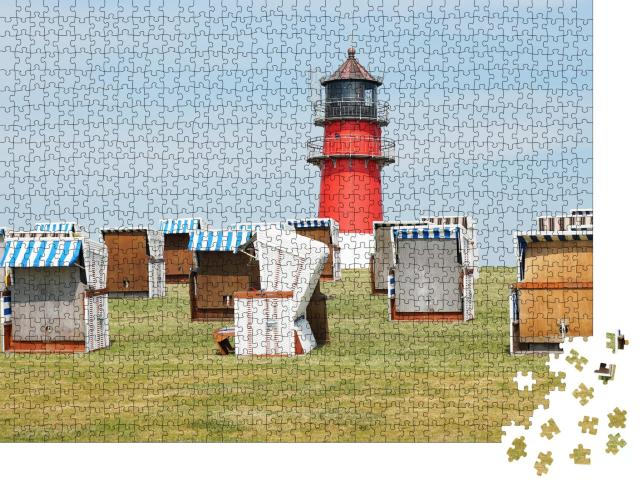 """Puzzle 1000 Teile """"Strandkörbe und Leuchtturm in Büsum, Deutschland"""""""