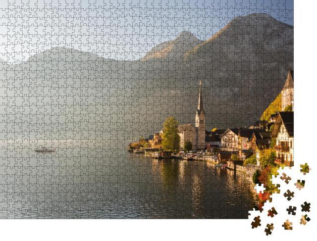 """Puzzle 1000 Teile """"Malerischer Morgenblick auf den berühmten Bergort Hallstatt, Österreich"""""""