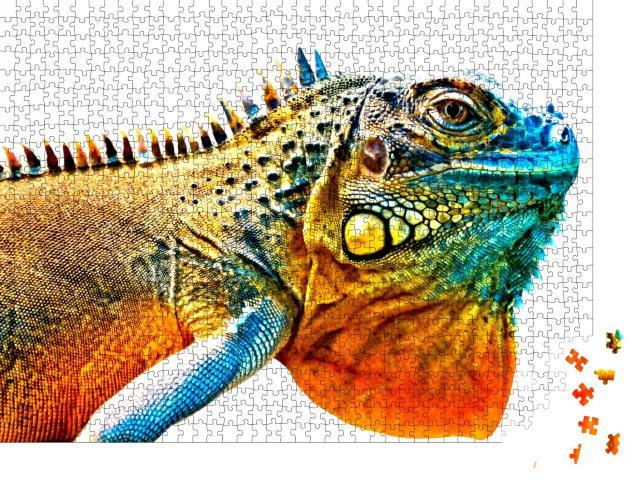 """Puzzle 1000 Teile """"Detailbild von einem bunten Leguan"""""""
