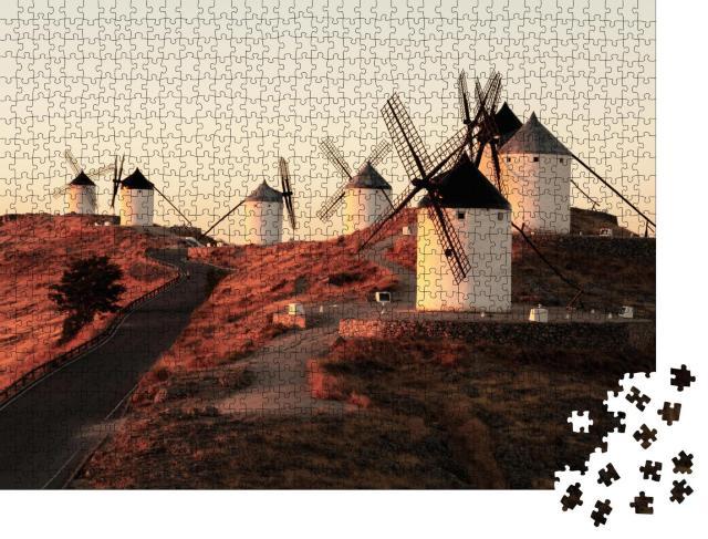 """Puzzle 1000 Teile """"Bild der berühmten Windmühlen von Consuegra, Kastilien-La Mancha, Spanien"""""""