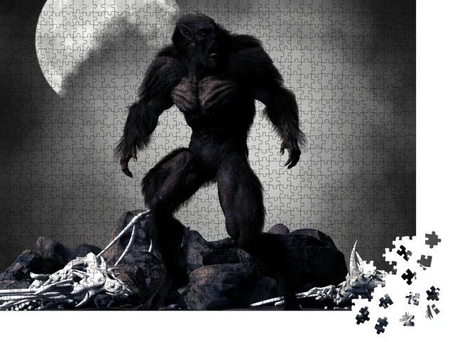 """Puzzle 1000 Teile """"Digitale Kunst: Düsterer Werwolf, umgeben von Skeletten"""""""
