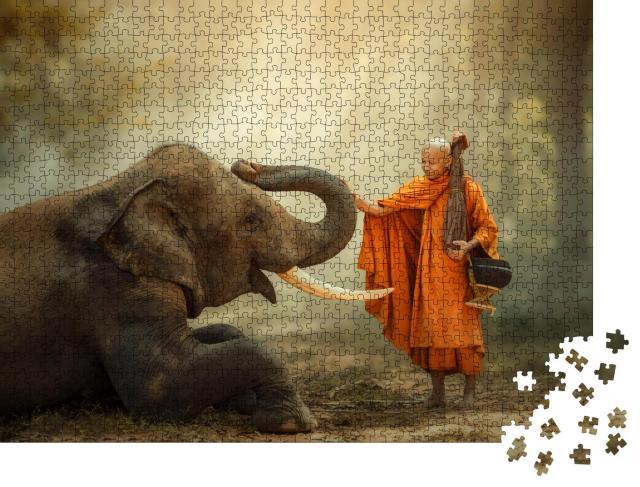 """Puzzle 1000 Teile """"Mönch und Elefant"""""""