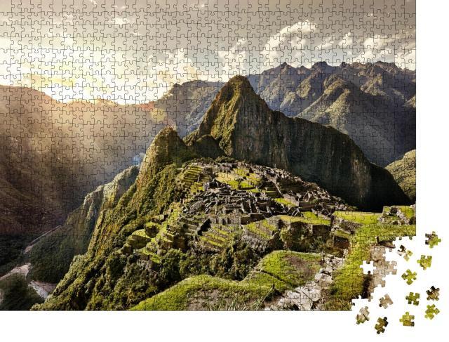 """Puzzle 1000 Teile """"Blick auf die alte Inka-Stadt Machu Picchu mit Ruinen, Peru"""""""