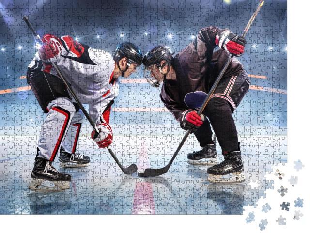 """Puzzle 1000 Teile """"Eishockeyspieler, voll konzentriert"""""""