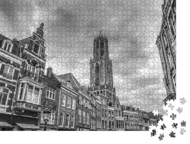 """Puzzle 1000 Teile """"Historische Kirche in Utrecht, Niederlande, schwarz-weiß"""""""
