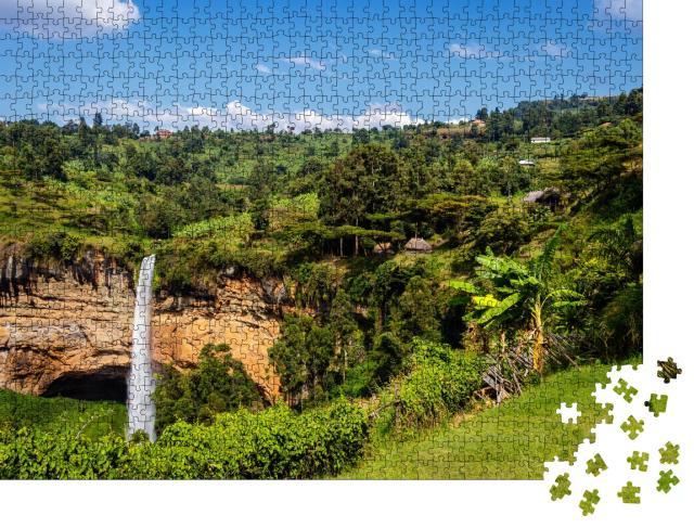 """Puzzle 1000 Teile """"Der dritte Wasserfall der berühmten Sipi-Fälle in Uganda"""""""