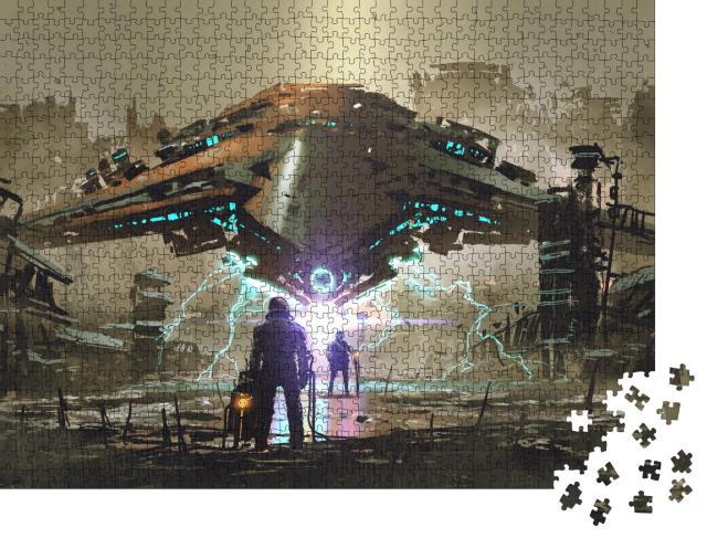 """Puzzle 1000 Teile """"Digitale Kunst: Begegnung mit einem Raumschiff"""""""