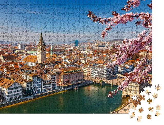 """Puzzle 1000 Teile """"Frühling über der Altstadt von  Zürich"""""""