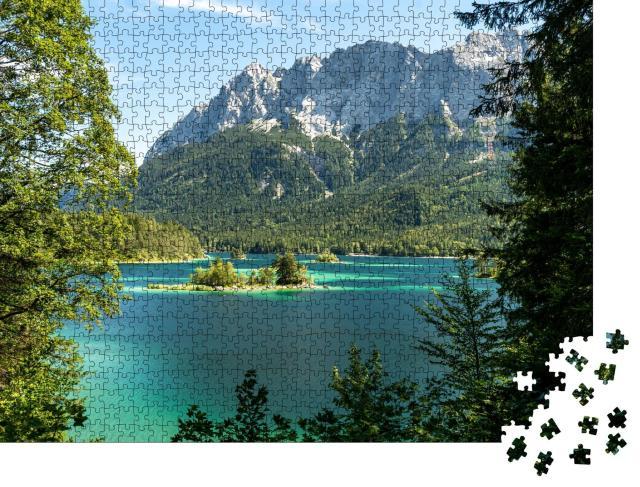 """Puzzle 1000 Teile """"Blick auf Zugspitze und Eibsee, Bayern, Deutschland"""""""
