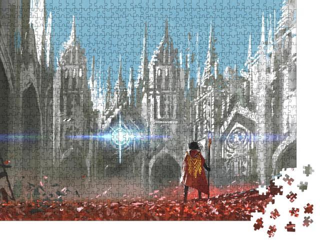 """Puzzle 1000 Teile """"Digitale Kunst: Der Ritter und das geheimnisvolle Licht"""""""