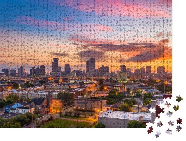 """Puzzle 1000 Teile """"Abenddämmerung über der Skyline von New Orleans, Louisiana, USA"""""""