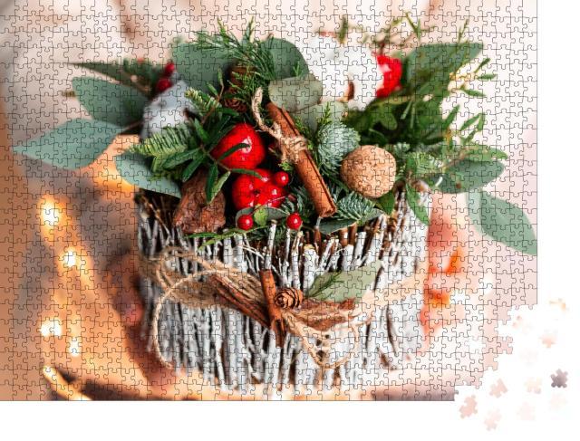 """Puzzle 1000 Teile """"Weihnachtsdekoration mit Nelken, Chrysanthemen und Tanne"""""""