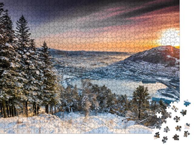 """Puzzle 1000 Teile """"Sonnenuntergang auf dem Berggipfel in Bergen, Norwegen"""""""