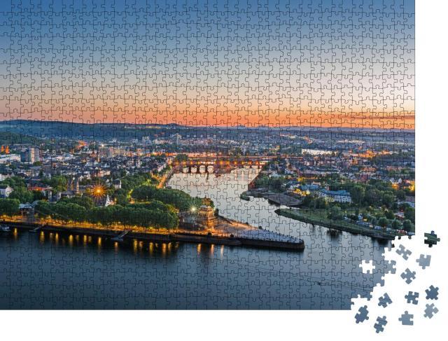 """Puzzle 1000 Teile """"Das Deutsche Eck in Koblenz bei Sonnenuntergang"""""""