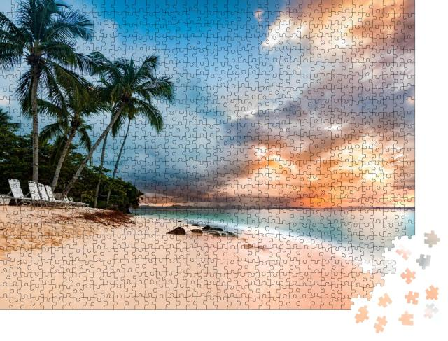 """Puzzle 1000 Teile """"Meereslandschaft mit Palmen, Cayo Levantado, Dominikanische Republik"""""""
