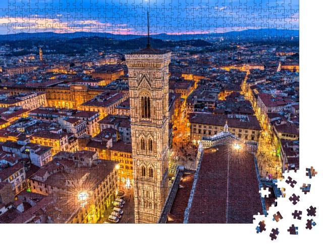 """Puzzle 1000 Teile """"Luftaufnahme in der Abenddämmerung von Giottos Campanile, Altstadt von Florenz"""""""