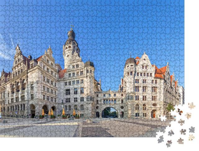 """Puzzle 1000 Teile """"Neues Rathaus: Blick vom Burgplatz, Leipzig, Sachsen, Deutschland"""""""