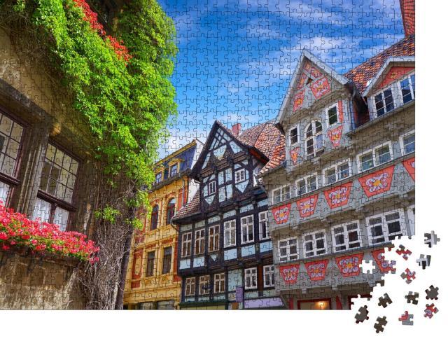 """Puzzle 1000 Teile """"Stadtfassaden von Quedlinburg, Harz, Sachsen-Anhalt"""""""