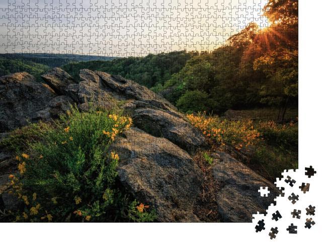 """Puzzle 1000 Teile """"Das Tal der Bode im Harz im wunderschönen Sonnenuntergang"""""""