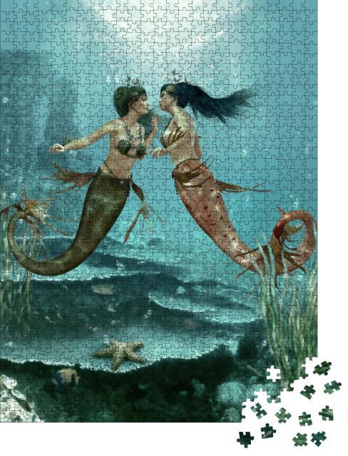 """Puzzle 1000 Teile """"Digitale Kunst: Zwei Meerjungfrauen unter Wasser"""""""