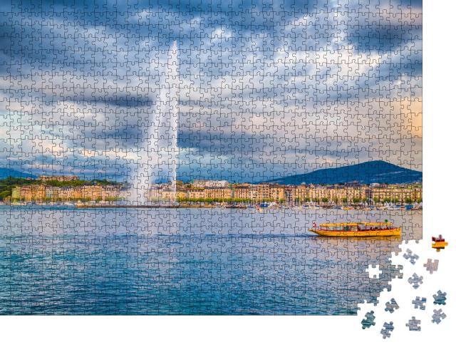 """Puzzle 1000 Teile """"Fontäne des Jet d'Eau-Brunnen am Hafenviertel von Genf, Schweiz"""""""