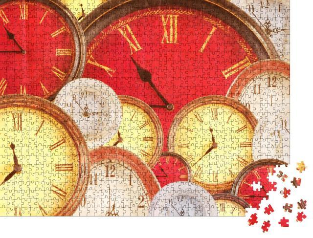 """Puzzle 1000 Teile """"Viele Vintage-Uhren in verschiedenen Farben mit einem Grunge-Overlay"""""""