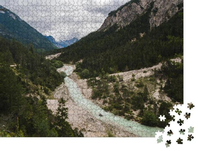 """Puzzle 1000 Teile """"Wilde Isar in den österreichische Alpen"""""""