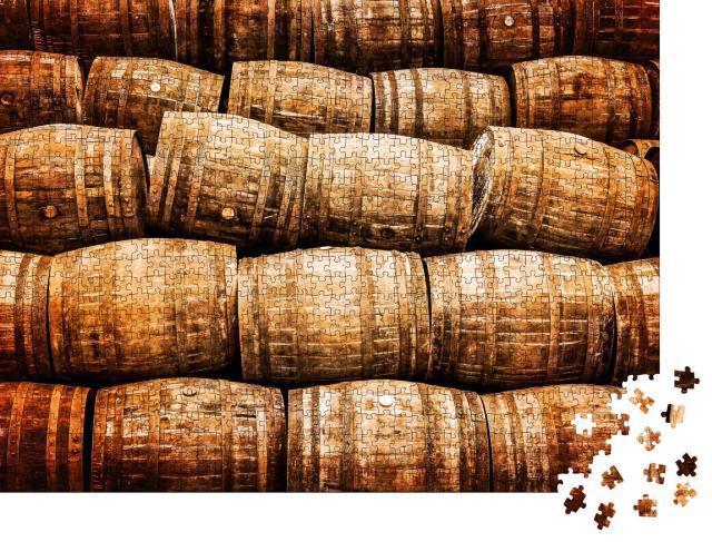 """Puzzle 1000 Teile """"Stapel von alten Whisky- und Weinfässern im Vintage-Stil"""""""