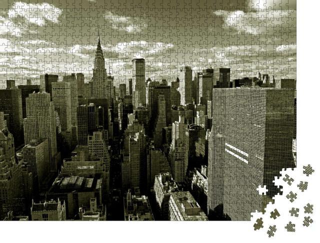 """Puzzle 1000 Teile """"Skyline von Manhattan hinter der Brooklyn Bridge, New York City, USA"""""""