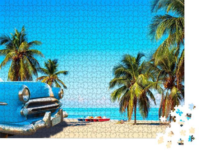 """Puzzle 1000 Teile """"Tropischer Strand bei Varadero in Kuba mit Oldtimer"""""""