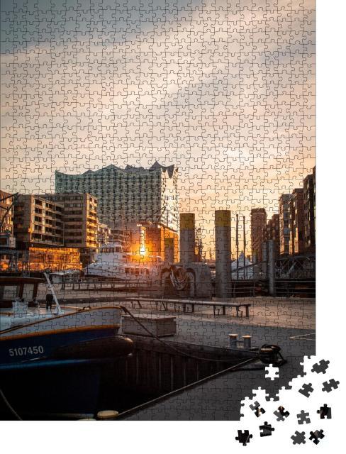 """Puzzle 1000 Teile """"Elbphilharmonie im Licht des Sonnenuntergangs, Hamburg"""""""