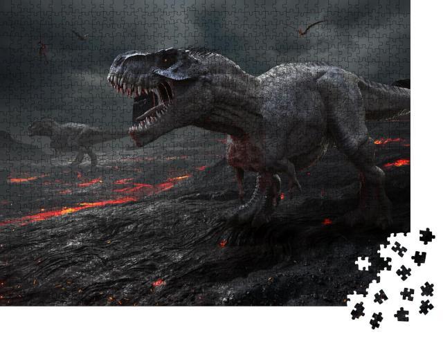 """Puzzle 1000 Teile """"3D-Animation: Saurier mit Lava-Landschaft"""""""