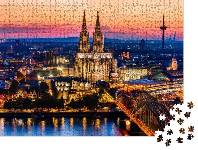 """Puzzle 1000 Teile """"Wunderschönes Nachtpanorama des Kölner Doms, der Hohenzollernbrücke und des Rheins"""""""