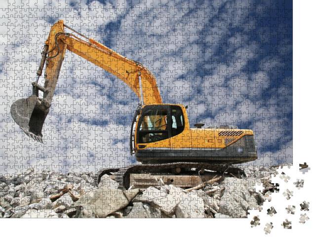 """Puzzle 1000 Teile """"Bagger gräbt den Boden für das Fundament"""""""