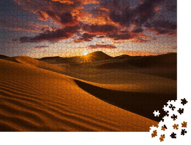 """Puzzle 1000 Teile """"Schöne Sanddünen in der Wüste Sahara, Sonne, Wolken am Himmel"""""""