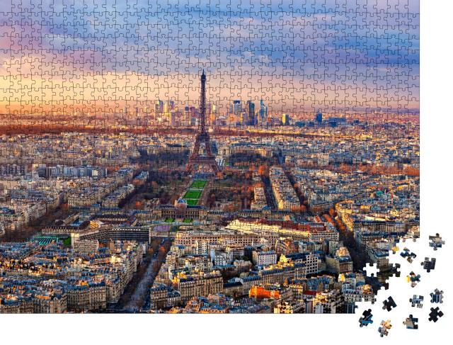 """Puzzle 1000 Teile """"Luftaufnahme von Paris im Sonnenuntergang"""""""