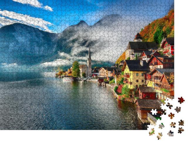"""Puzzle 1000 Teile """"Nebliger Sonnenaufgang im Herbst, Hallstatt, Österreich"""""""