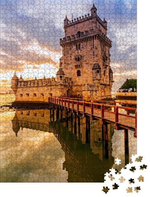 """Puzzle 1000 Teile """"Turm von Belem im idyllischen Sonnenuntergang, Lissabon, Portugal"""""""