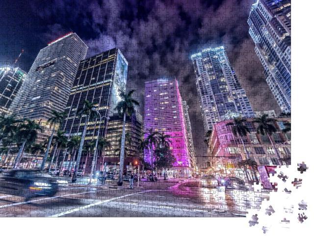 """Puzzle 1000 Teile """"Downtown Miami bei Nacht"""""""