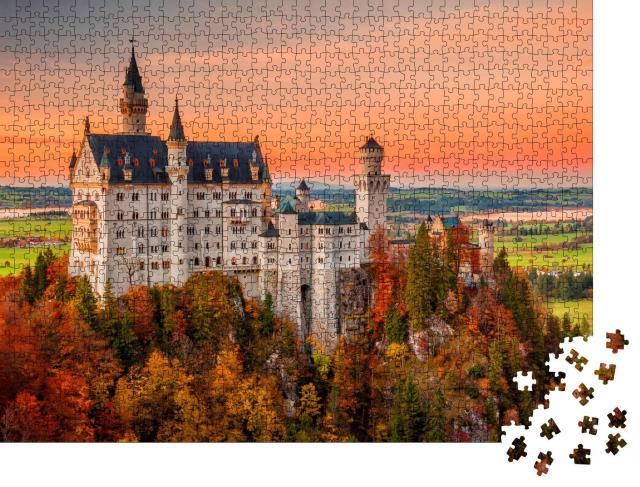 """Puzzle 1000 Teile """"Schloss Neuschwanstein im herbstlichen Sonnenuntergang"""""""