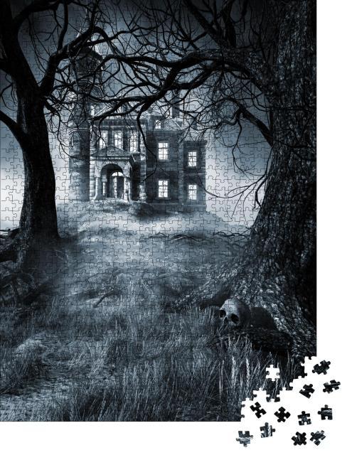"""Puzzle 1000 Teile """"Illustration: Gruselhaus in dunkler Nacht"""""""