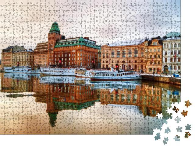 """Puzzle 1000 Teile """"Blick auf das Zentrum von Stockholm in der Morgendämmerung"""""""