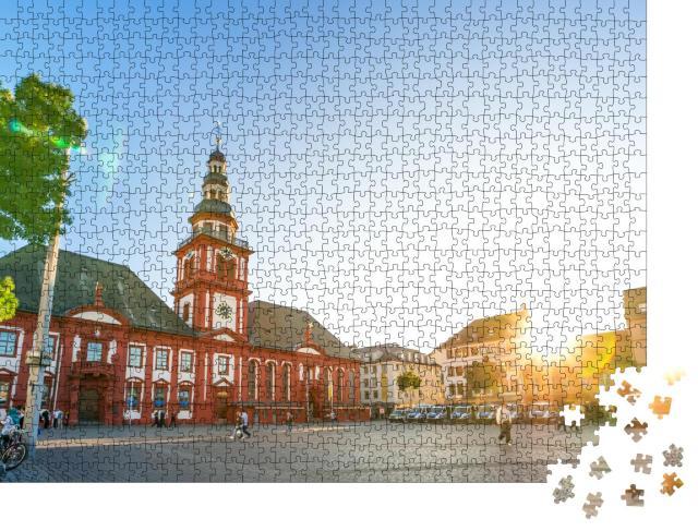 """Puzzle 1000 Teile """"Marktplatz in Mannheim mit warmen Sonnenstrahlen"""""""