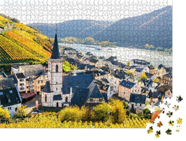 """Puzzle 1000 Teile """"Assmanshausen im bunten Herbst, Oberes Mittelrheintal, Hessen, Deutschland"""""""