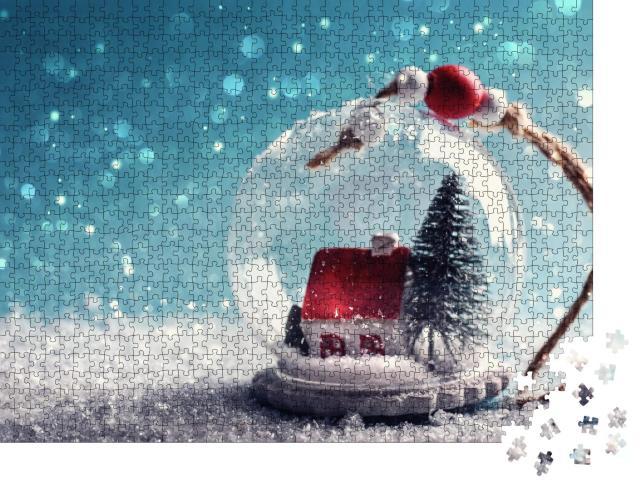 """Puzzle 1000 Teile """"Weihnachtliche Schneekugel"""""""