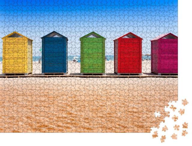 """Puzzle 1000 Teile """"Bunte Strandhütten am Strand von Patacona, Valencia"""""""