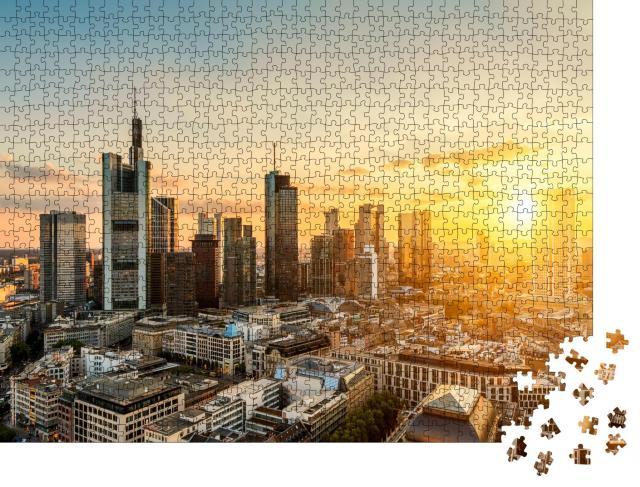 """Puzzle 1000 Teile """"Skyline von Frankfurt am Main bei Sonnenuntergang"""""""