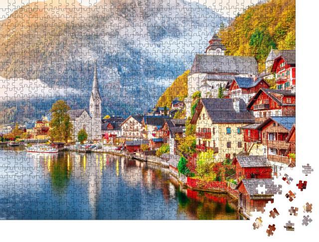 """Puzzle 1000 Teile """"Hallstätter See mit Ufer und Bergen, Österreich"""""""