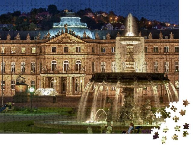 """Puzzle 1000 Teile """"Brunnen am """"Neuen Schloss"""" Stuttgart, Deutschland"""""""