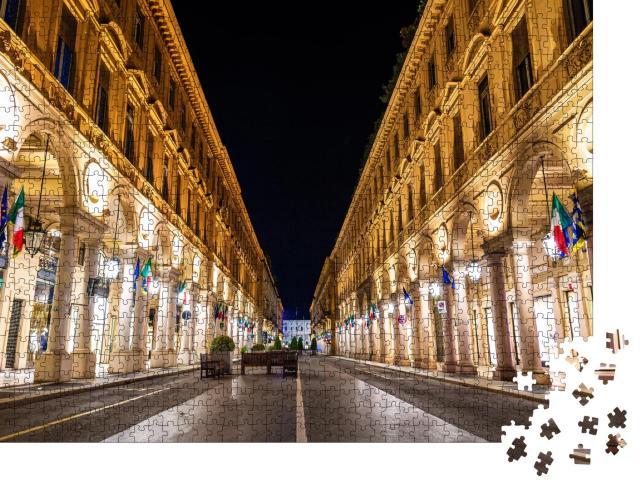 """Puzzle 1000 Teile """"Die Via Roma bei Nacht, eine Straße im Zentrum von Turin in Italien"""""""